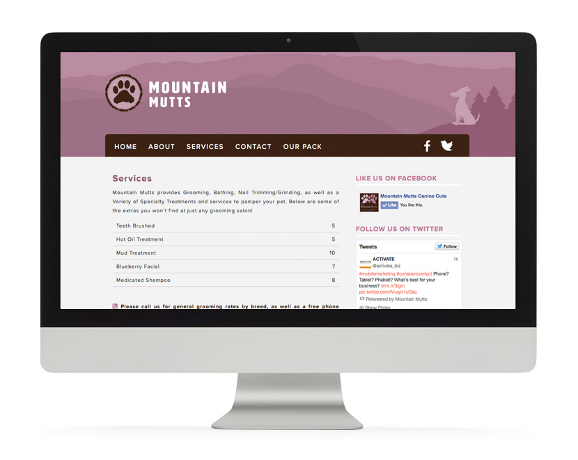 Mountain Mutts Website Services